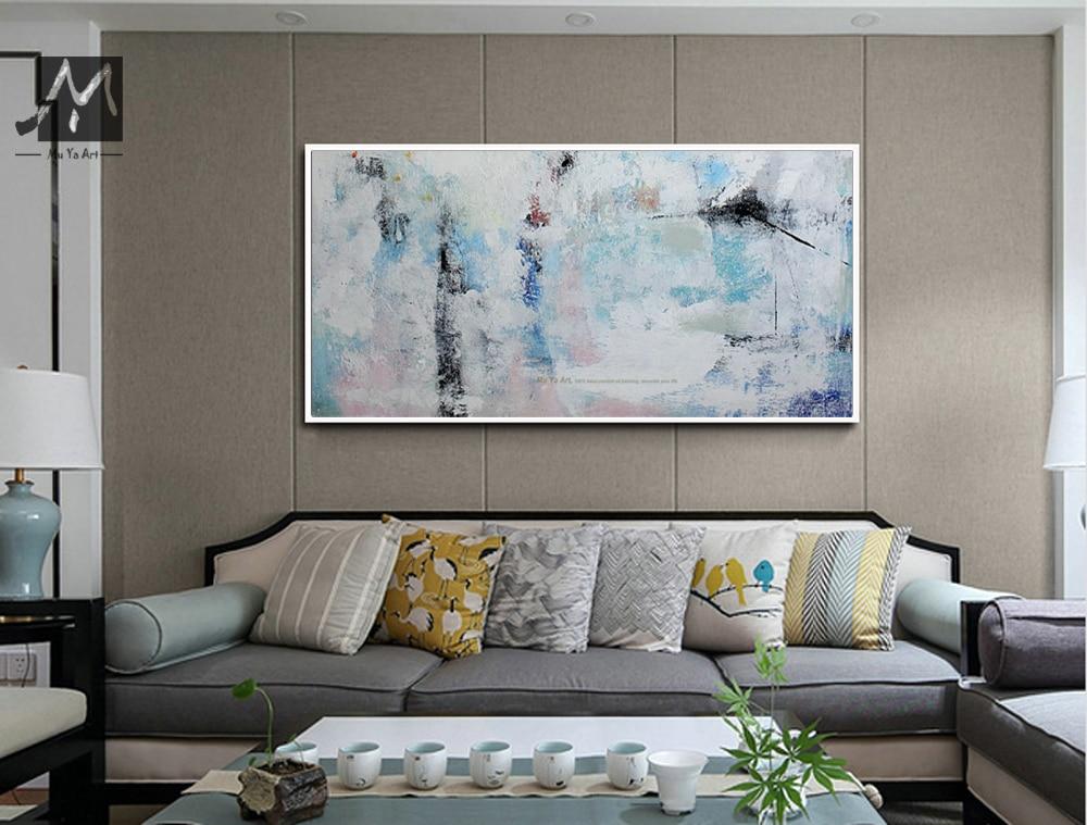 MUYA Blue Abstract Painting Canvas Cheap Modern Acrylic