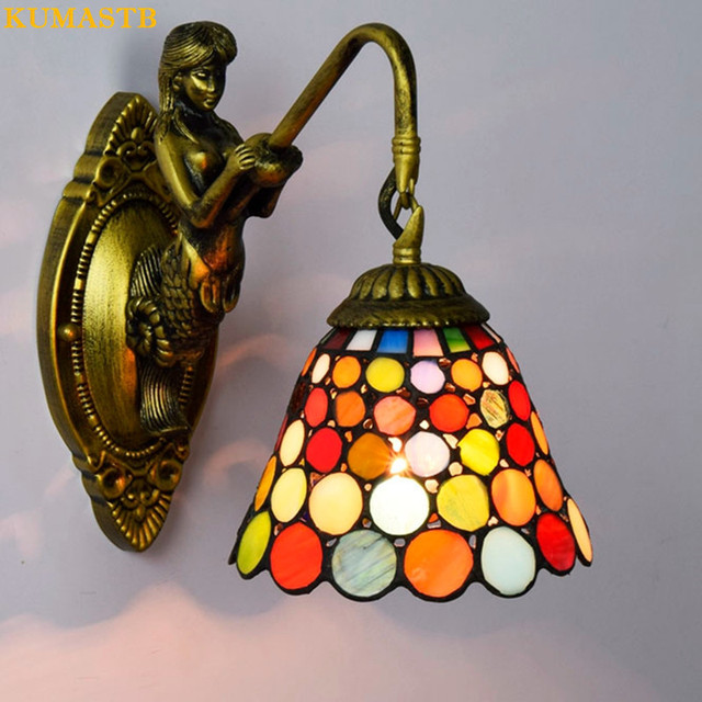 European Vintage Stained Glass Wall Lamp Bedside Lights Balcony ...