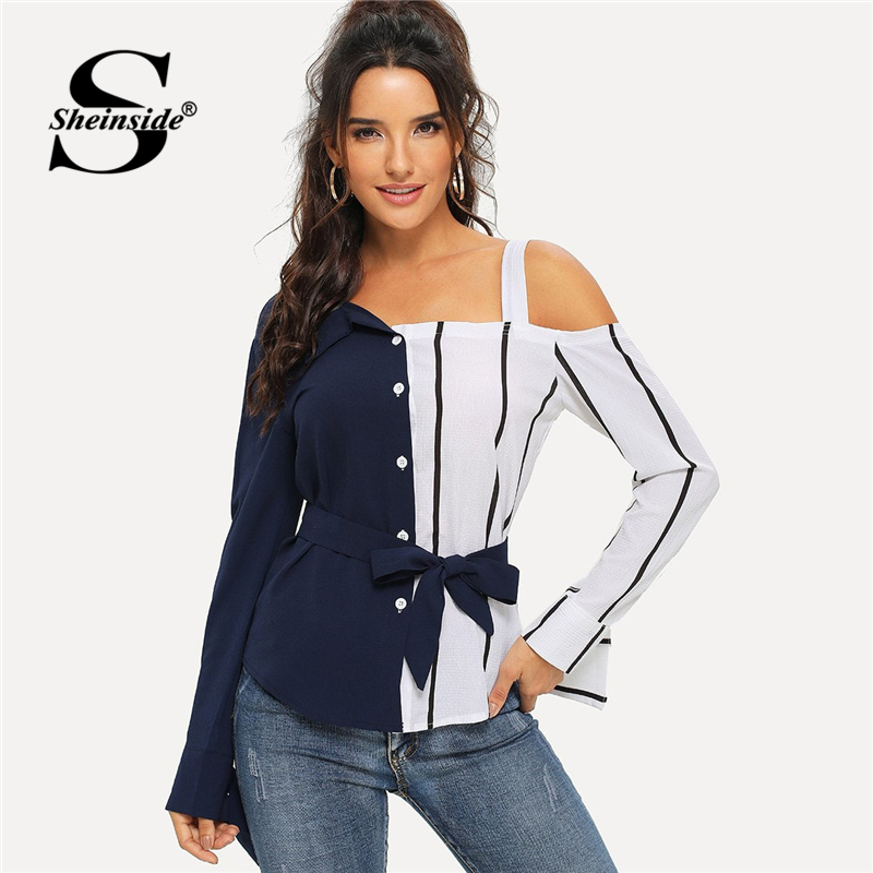 Sheinside Navy Cold Shoulder Striped   Blouse     Shirt   Long Sleeve Women Tops 2019 Fashion Asymmetrical Neck Belted Womens   Blouses