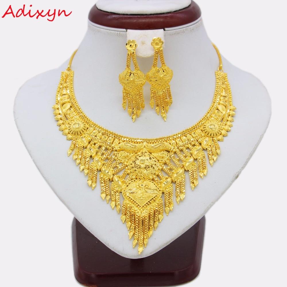 Adixyn Fashion Necklace Earrings Jewelry Set For Women Girls Gold Color Copper Trendy Arab Ethiopian Wedding