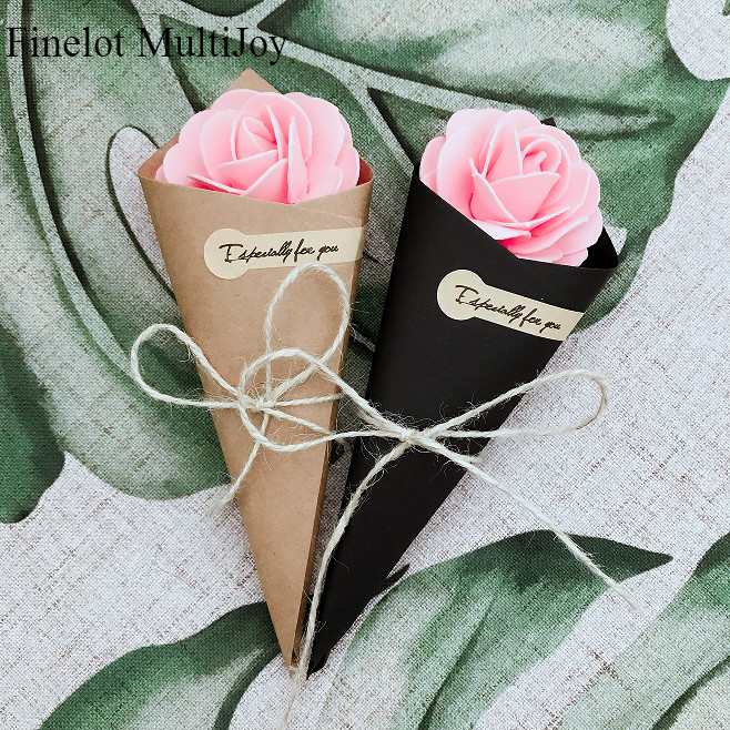 1 pair flower cone with handhold portable basket folded paper 50 pcs wedding favors diy brown black kraft paper cones candy boxes ice cream wedding mightylinksfo