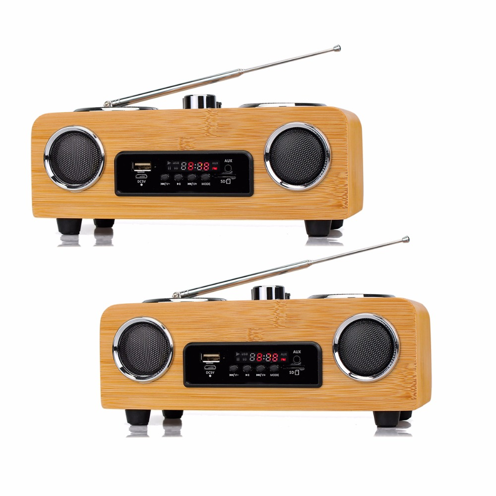 2 pcs FM Stereo Radio Multimedia Speaker Classical Handmade Bamboo Radio Mucis Player Portable Radio FM Remote Control Y4113O niorfnio portable 0 6w fm transmitter mp3 broadcast radio transmitter for car meeting tour guide y4409b