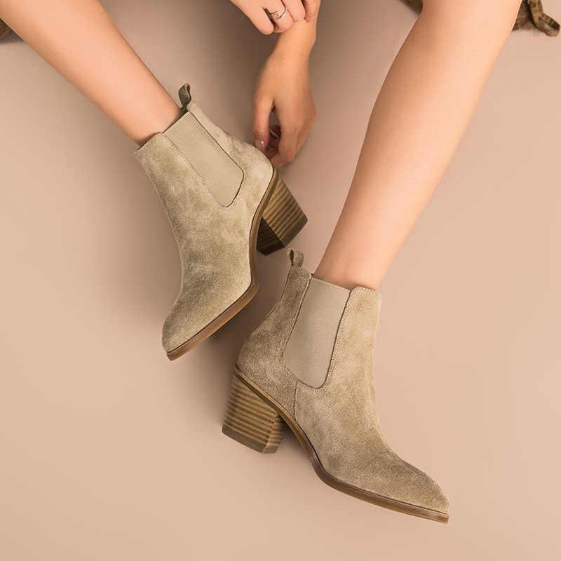 Beautoday Nữ Giày Chelsea Boot Da Thật Chính Hãng Da Bò Da Lộn Mũi Nhọn Chiều Dài Mắt Cá Chân Cao Gót Nữ Handmade 03341