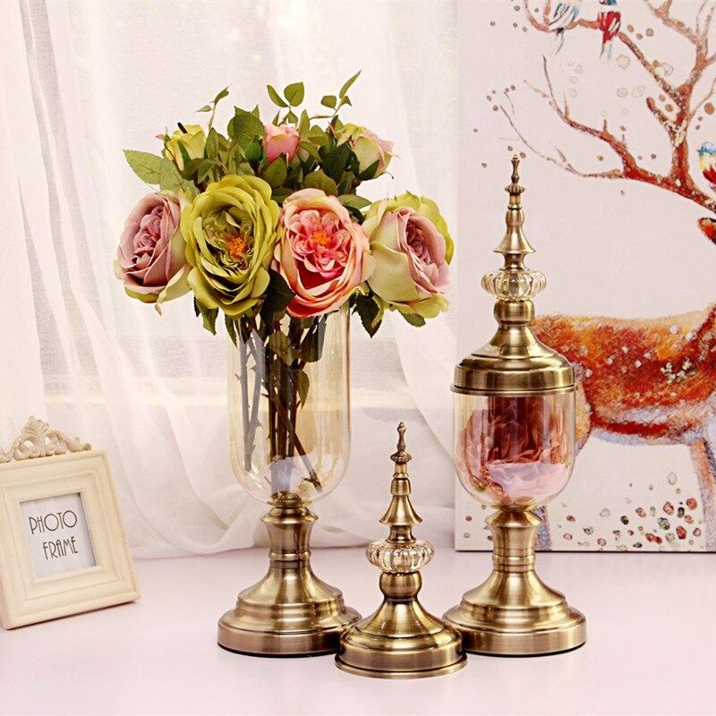 Style européen Vase à fleurs Bronze grand verre Vases décoration Vase bonbons pot Tapletop Vases décorations salon décoration