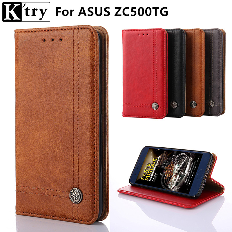 K'try Wallet Case for ASUS Zenfone Go ZC500TG PU Leather Retro Flip Cover For ASUS ZC500TG 5.0'' Fashion Cases with Kickstand