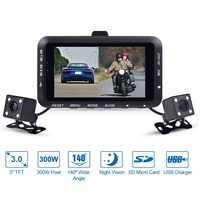 Fodsports DV168 Motorcycle DVR Car Mounted Video Recorder Dash Cam Dual Lens Cameras 3.0 LCD Night Vision 130 Degree Wide Angle