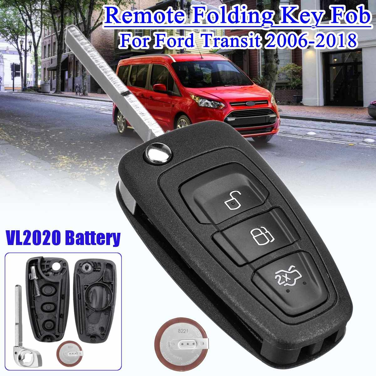 Remote Folding Flip Key Fob Car key Case with VL2020 Battery 3 Buttons For Ford Transit  2006-2018 For Focus For Mondeo