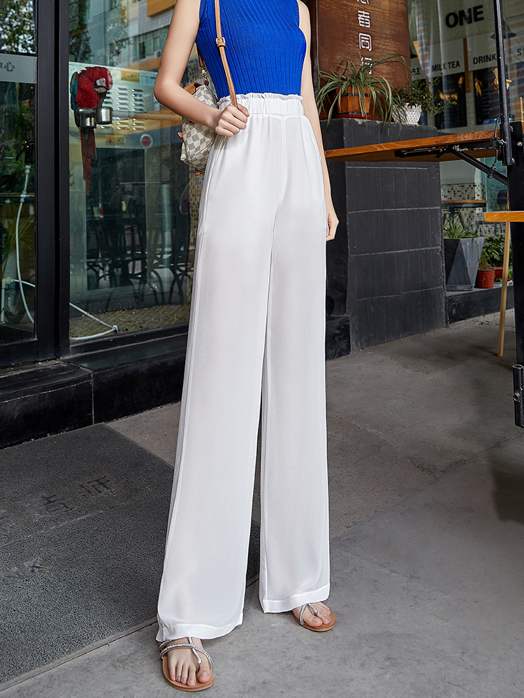 White Chiffon   Wide     Leg     Pants   Women Summer High Waist Casual Loose Women   Pants   Streetwear Gothic Plus Size Palazzo Trousers Women