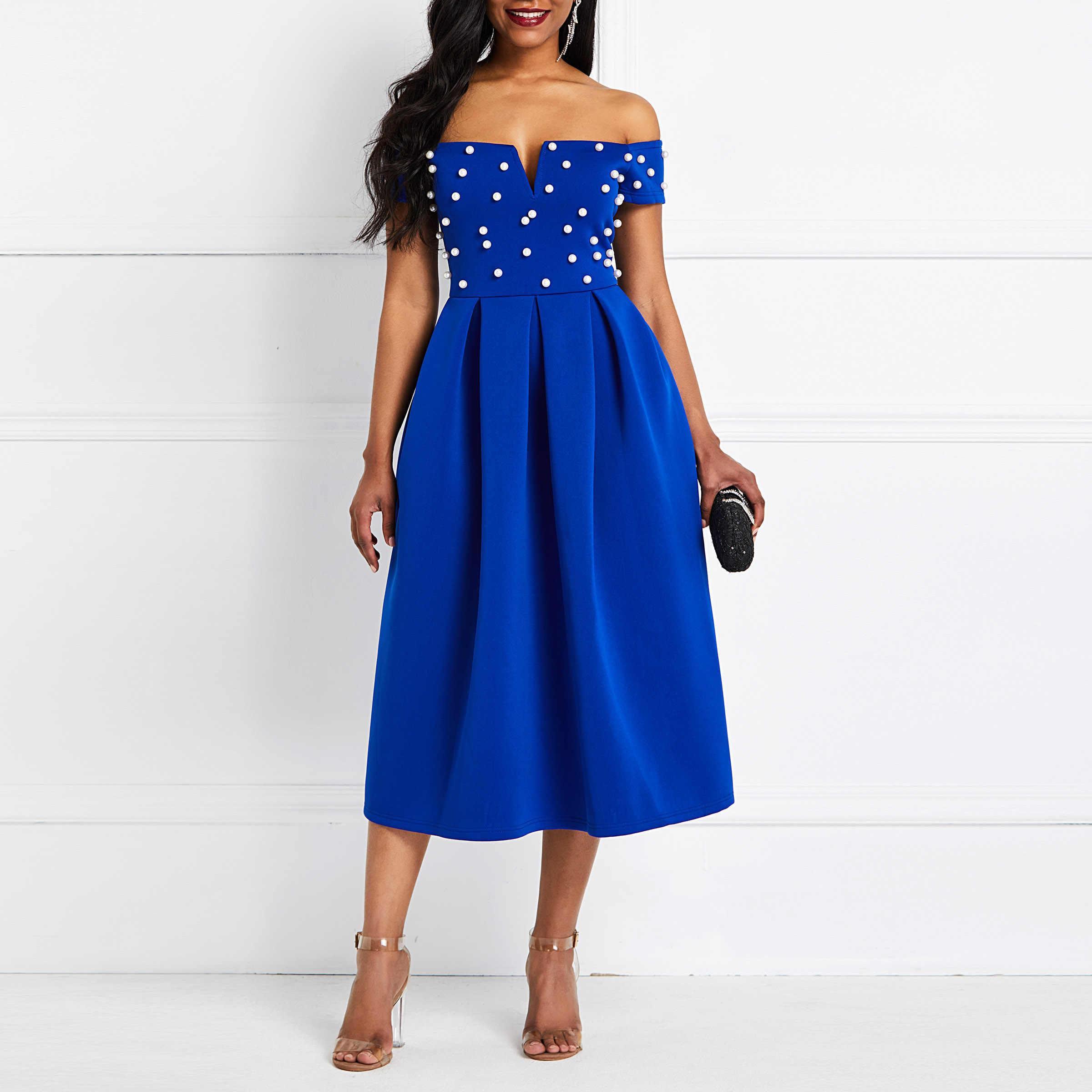 Сексуальные Клубные вечерние элегантные женские уличные осенние женские платья синего размера плюс с открытыми плечами, украшенные бисером, женское модное жемчужное платье