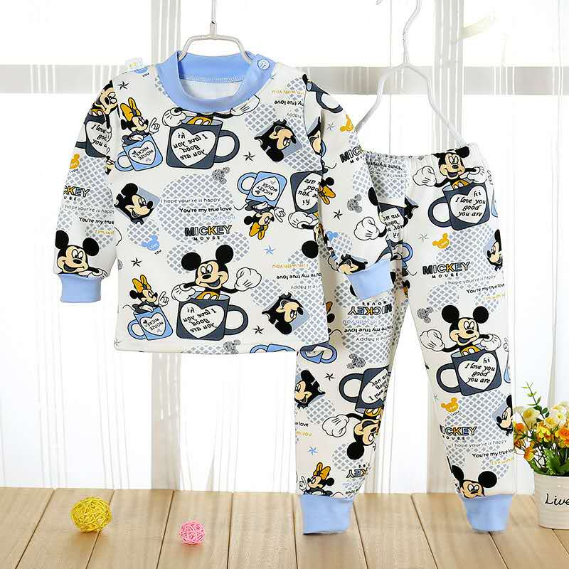 Baby Boys Girls Autumn Winter Mickey Minnie Warm Clothing Set Toddler Kids Child Printed Dot Pussy Cat Pajamas Clothes Suit 1-4Y set of clothes children girls boys baby clothing milk print 3pcs suit toddler kids christmas pajamas sleepwear top 2017 new
