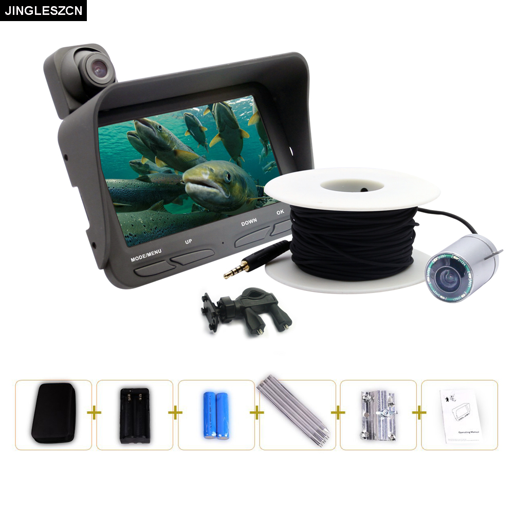 все цены на JINGLESZCN Underwater Ice Fishing Camera Night Vision Video Fish Finder Fish tackle 6 Infrared LED 4.3 inch LCD Monitor Screen