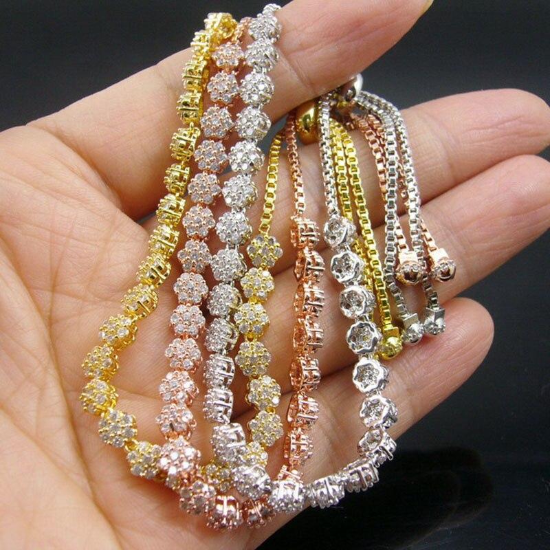 Women Favourite 24pcs Shining Rhinestone CZ Small Flowers Adjustable Length Rose Gold Color / Gold Color / Silver Color Bracelet
