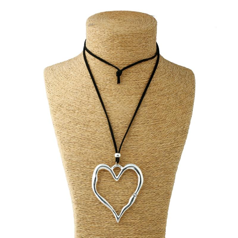 1kpl Antiikki Hopea Lagenlook Suuri abstrakti sydän riipus Colar pitkähihainen nahka kaulakoru korut lahja naisille ja miehille