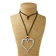 1pcs Antique Silver Lagenlook Large Abstract Heart Pendant Colar Long Suede Leather Necklace Jewelry Gift For Woman&Men(China)