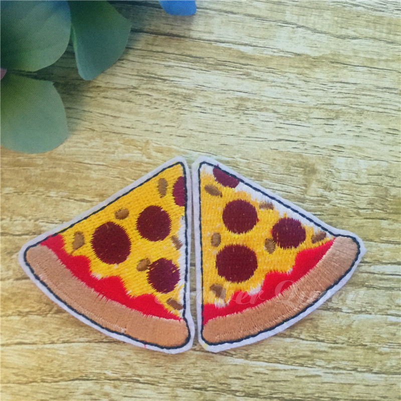 New Arrival Iron-On Funny 3D Pizza Patch Fashion Top 10pcs Patches For Clothing Embroidered Patchwork For Kids DIY Accessory bracelet