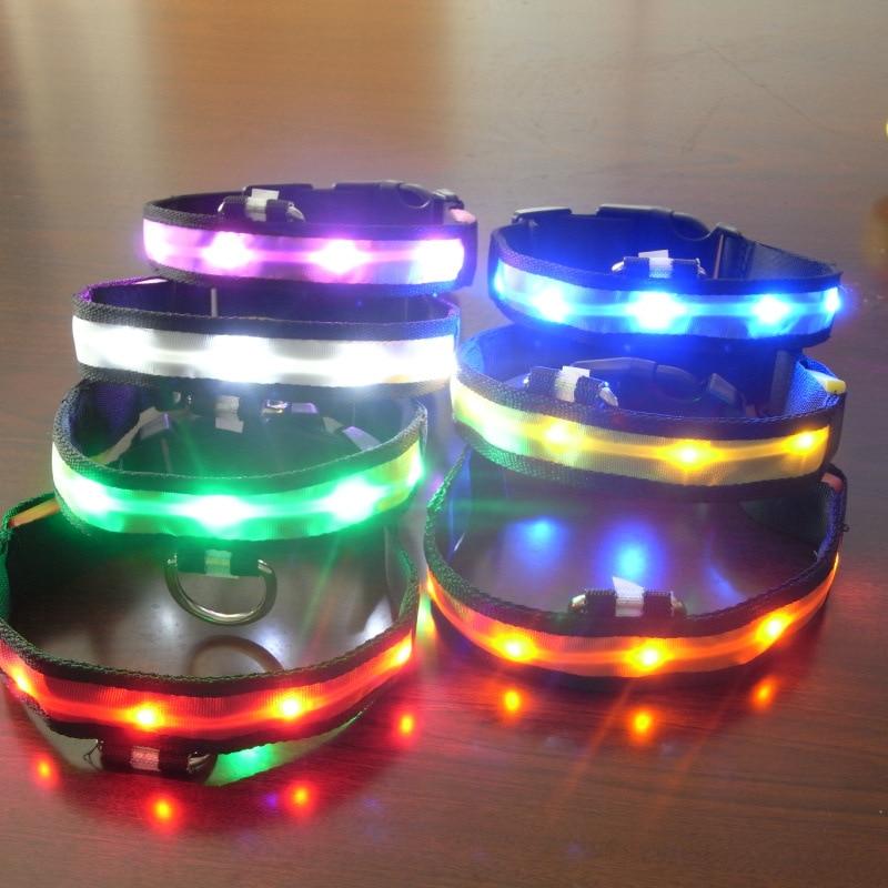 Нейлон ошейники для собак светодиодный ошейник Pet анти-потерянный проблесковый маячок воротники ночь безопасности 7 цветов доступны размер...