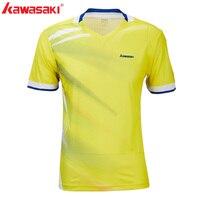 Kawasaki Sportswear 100% Polyester Badminton Shirts Men Shirt V Neck Breathable Sweat Shorts T shirts ST T1010