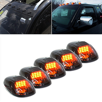 5pcs For 2003 2016 Dodge Ram 2500 3500 Smoked Lens 3000K Yellow LED Cab Roof Top Marker Running Lights