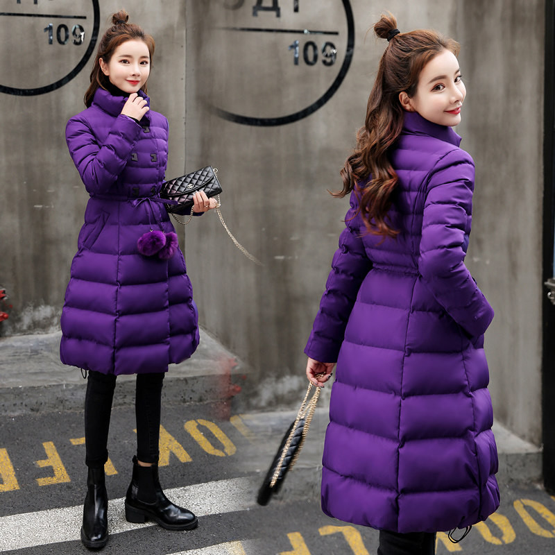 Chaud purple Hiver De Épaissir black Red Dames Longueur Mince Moyen Manteaux Parkas Femmes Coréenne Version Veste Garder Vers Le Y187 Bas Au Survêtement Ceinture Coton HnS7Hr