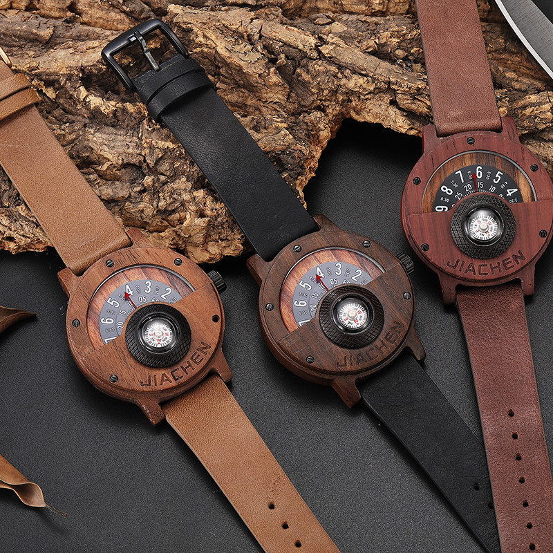 Unique Compass Turntable Number Design Mens Wooden Watch Men Brown Wood Leather Band Creative Natural Wood Wrist Watches Relogio