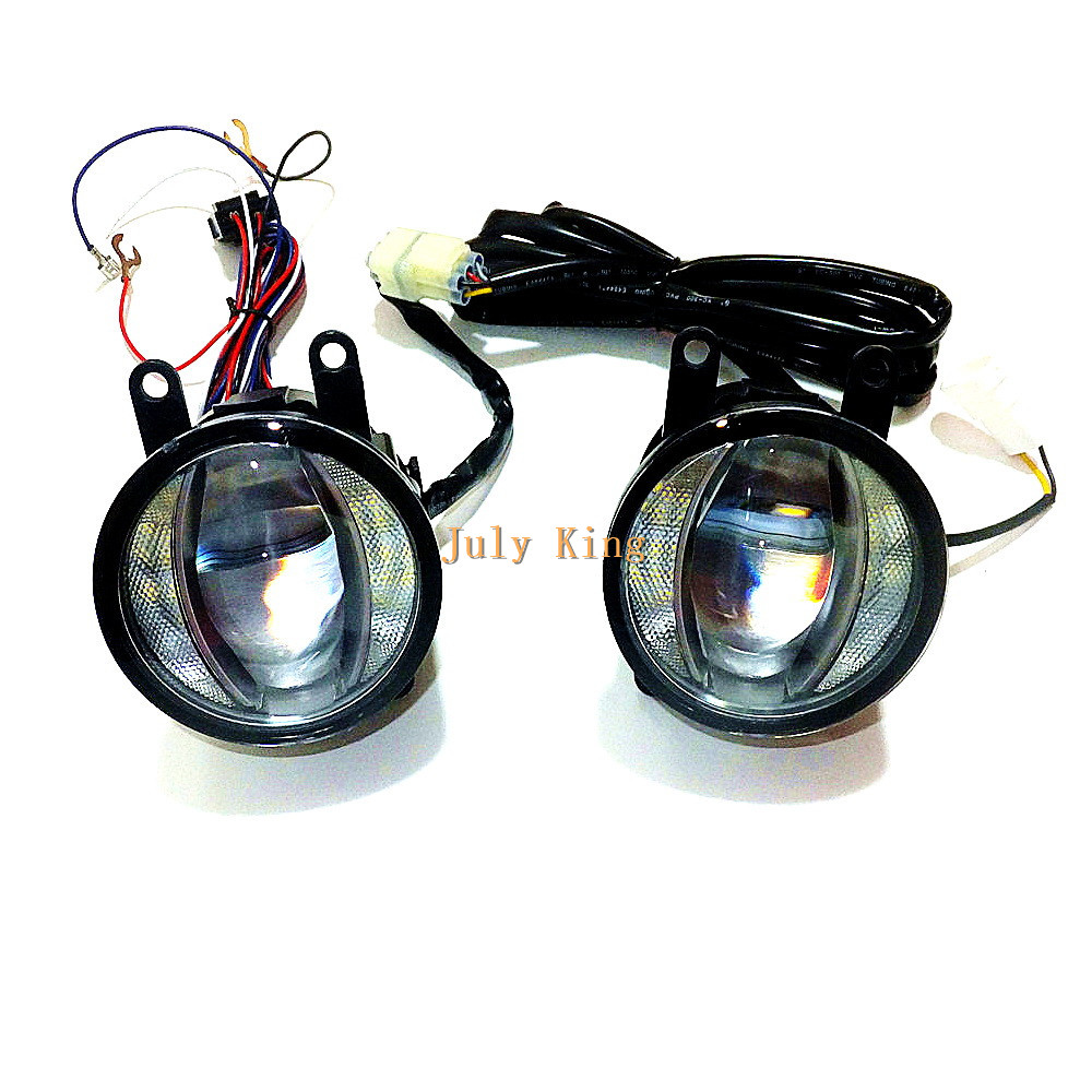 July King 1600LM 24W 6000K LED Light Guide Fog Lamp +1000LM 14W DRL Case for Ford Renault Suzuki Opel Citroen Honda Nissan etc dwcx wiring harness sockets wire switch for h11 fog light lamp for ford focus acura nissan suzuki subaru lincoln honda cr v