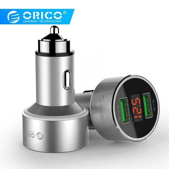 Cargador de coche ORICO Dual USB con pantalla de visualización Mini 2 puertos cargador de coche USB para teléfono móvil tableta GPS iPhone 7 8 Plus, Samsung