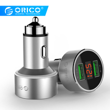 ORICO Dual USB Car Charger with Display Screen Mini 2 Ports USB Car Charger For Mobile Phone Tablet GPS iPhone 7 8 Plus Samsung hoco dual usb ports car charger set with 8 pin cable