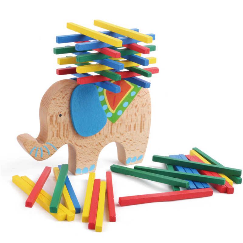 2018 nuevo elefante/camello equilibrio juguetes de madera para niños bloques de madera de juguete juego para niños juguetes educativos Montessori niños