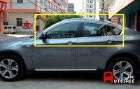 Для BMW X6 E71 2009 2014 Нержавеющаясталь хромированной нержавеющей подоконник планки без Центральная колонна 10 шт.