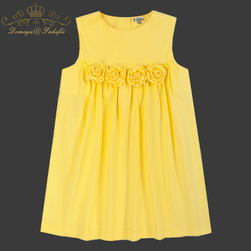 Baby Girl Dress 2018 New Summer Children Sleeveless Cotton Flowers Dresses With Big Rosse Kids Princess Party Dresses For Girls summer baby girl dress children sleeveless girls denim dresses princess bowknot prints flower dress kids dresses for girls