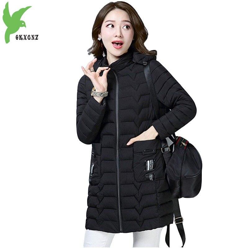 Down cotton Jacket for Women 2018 Boutique Autumn Winter   Parkas   Thin light Hoodies Plus size Slim Female Warm Tops OKXGNZ 1929