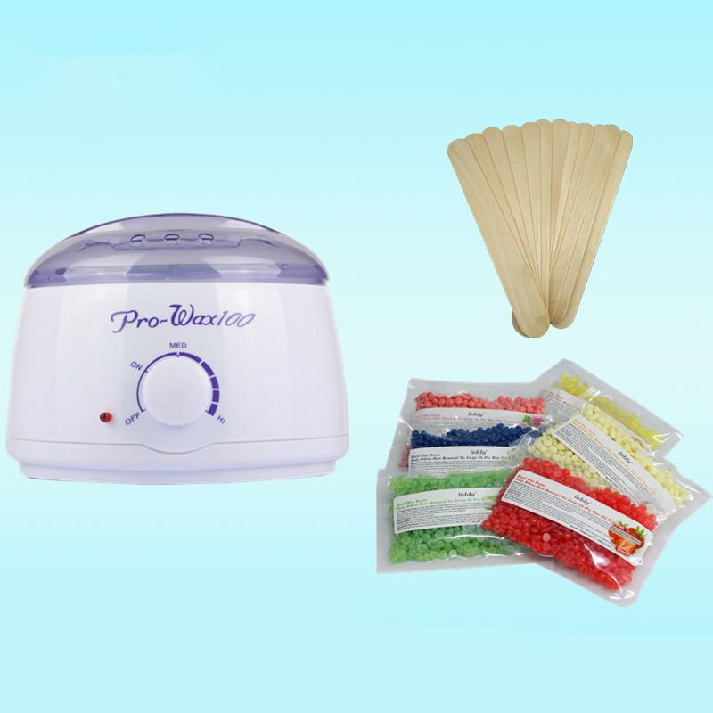 EU/US Plug Hair Removal Wax Heater Salon Spa Paraffin Bath for Deplitory Wax Warmer Pot 20 Wooden Spatula Sticks with Wax Beans warmer wax heater hair removal therapy mini spa bath paraffin heater pot warmer salon spa beauty equipment hair removal tools