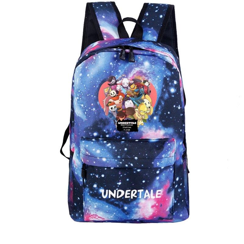 Game Undertale Frisk Sans Printing Backpack Galaxy Back Pack Canvas School Backpack Undertale Rugzak Women Travel Bags