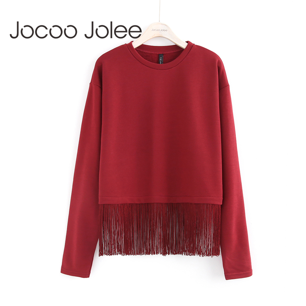 Jocoo Jolee Tassel Sweatshirt Women Long Sleeve Casual Hoodies Sweatshirt Pullover Top Ladies Fashion Solid 2017 Global Shopping