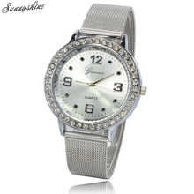 Girls Trend Watches Rhinestone Silver Dial Clock Stainless Metal Mesh Band Wrist Watch wholesale