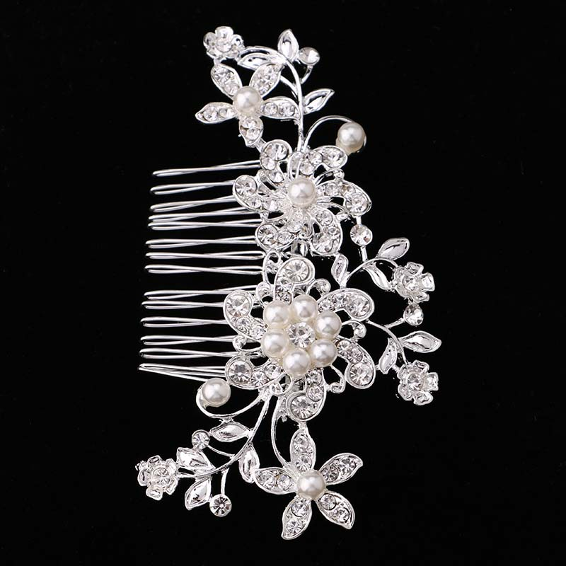 Bridal Hair Accessories Lace Flower Crystal Pearl Rhinestone Hair - Fashion Jewelry - Photo 6