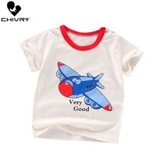 Chivry Summer 2019 Little Boys Short Sleeve O-Neck T-shirts Baby Kids Casual Cartoon Print Tops Fashion Clothes
