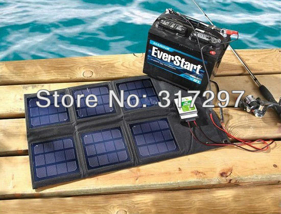 GGX ENERGY 18-watt Folding Solar Panel with Solar Charge Controller Portable Solar Powered 12V Battery Charger ggx energy 120 watt portable rv and marine mono folding solar panel kit with 10a solar charge controller
