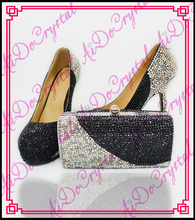 Aidocrystal 2016 New Fashion black and white style Handmade Crystal Ladies Matching Shoe and Bag Set