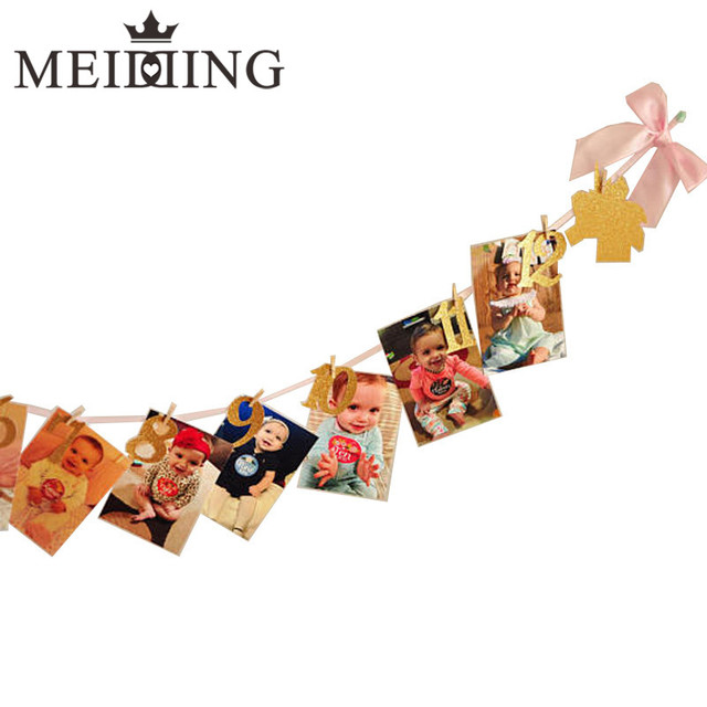 fa3ec4e1153 MEIDDING-Unicorn Party 1st Birthday Decoration Monthly Milestone Photo  Banner Garland for Newborn To 12 Months Baby Shower Gift