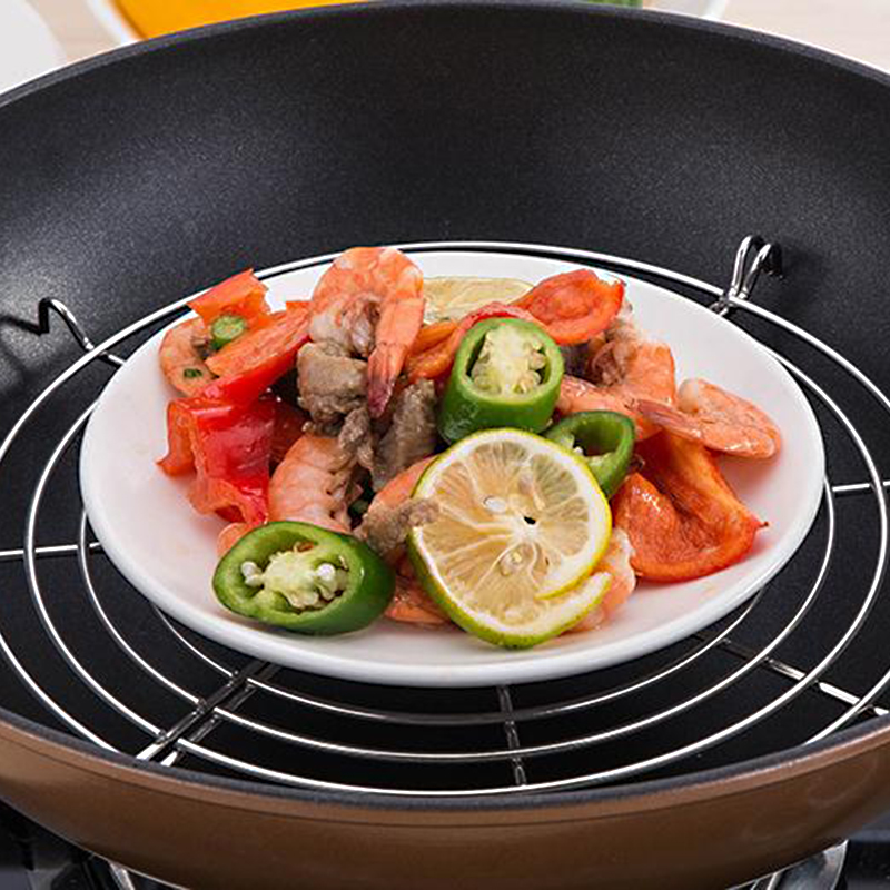 Stainless Steel Oil Drain Steamer Semi-circular Vegetables Fried Dripping Oil Shelf Grid Multifunction Kitchen Tools