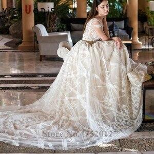 Image 4 - Vestidos De Novia 2019 New Design Chapel Train A Line Wedding Dress Elegant Sleeveless Lace Appliques Tulle Bridal Gown