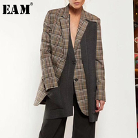 [EAM] High Quality 2019 Spring Plaid Knitting Patchwork Single Breasted Turn down Collar Coat Fashion New Women's LC069