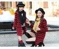 2016 осень и зима Семьи Сопоставления Одежда новый Мать и Дочь моды плед с капюшоном теплый Девушка Принцесса пальто куртки