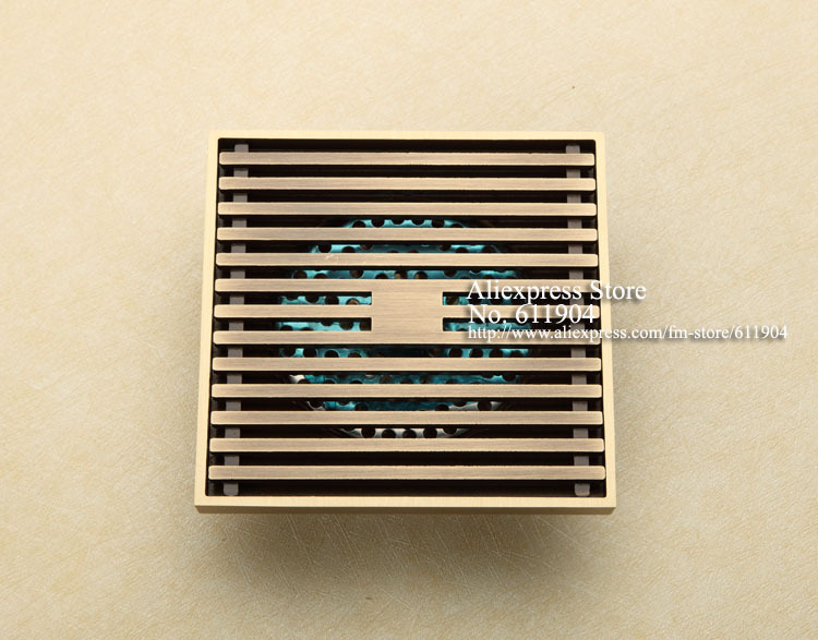 ФОТО Antique Brass Wired Bathroom Wetroom Square Shower  Drain Floor Trap Waste Grate With Hair Strainer 3782146A