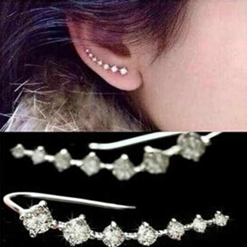 New Arrive Silver Color Shiny Crystal Earrings Temperament Earrings Rhinestone Earrings For Women Wedding Jewelry E0409