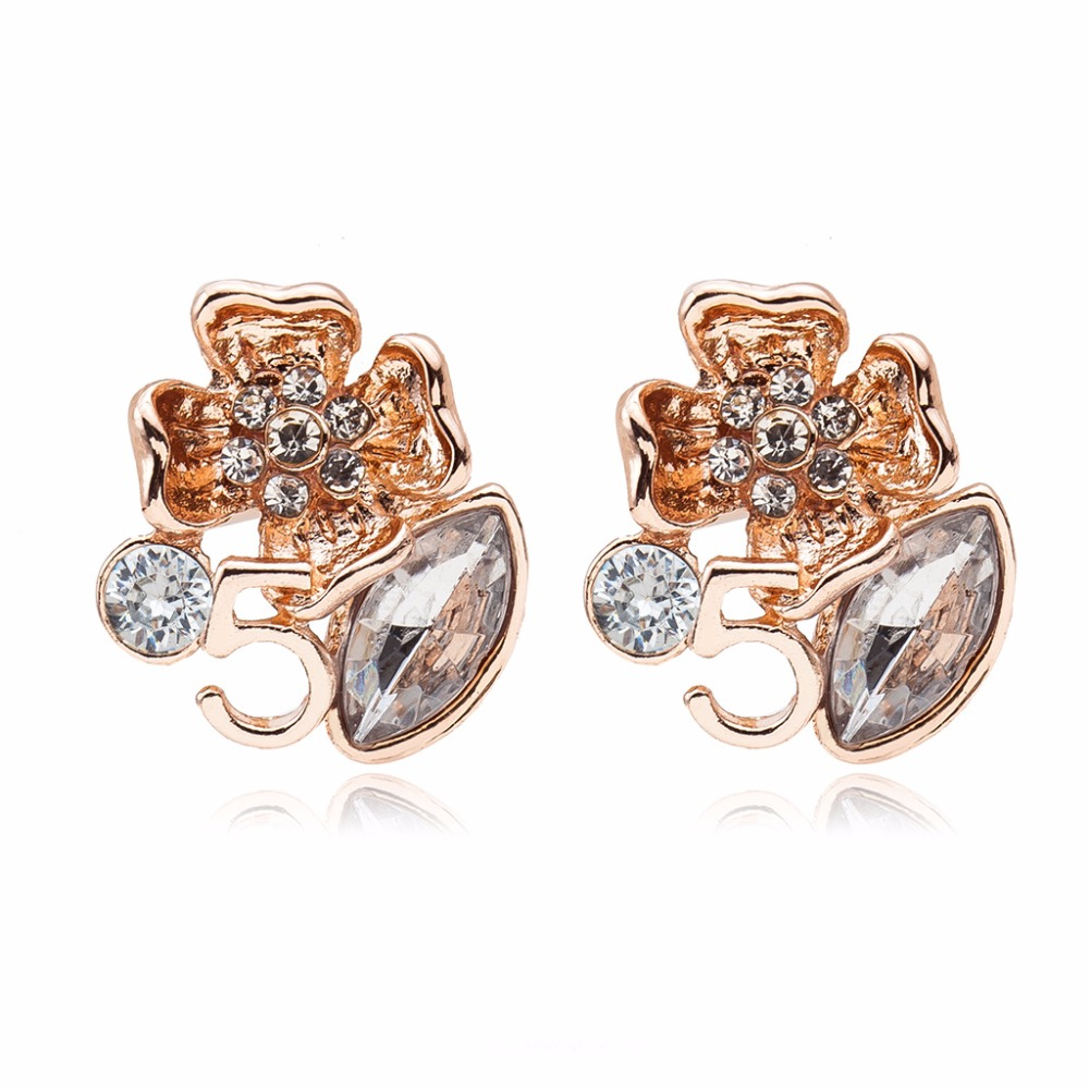 Center Crystal Pistil Flower Oval Rhinestone Letter 5 Silver Golden Sleek Stud Earrings  ...