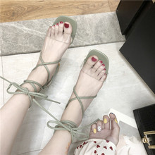 RWHK Sandals female 2019 summer new thick with heel sandals straps transparent wild fashion womens B465