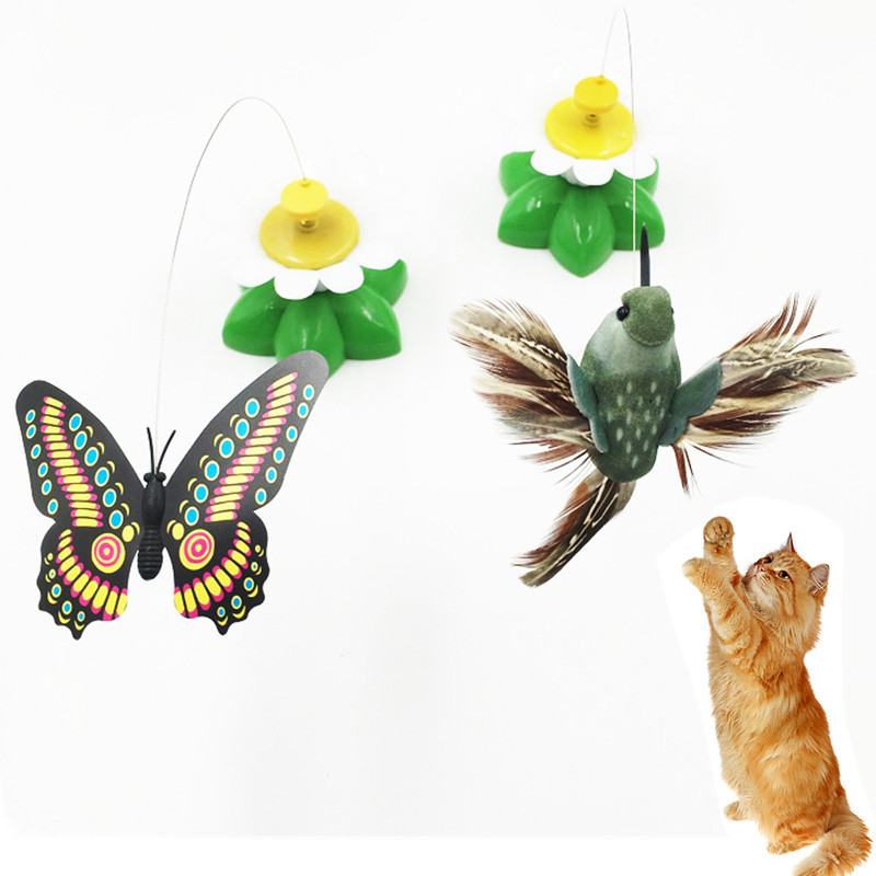 Cat Toy Electric Rotating Colorful Butterfly Bird Feather Toys Plastic Funny Pet Interactive Training for Funny Cats Stick Toys