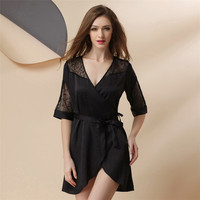 Sexy Sleeping Dress Woman Summer Night Skirt Extreme Lure Will Code Bathrobe Ice Lace Silk Home Furnishing Clothing Thin Style